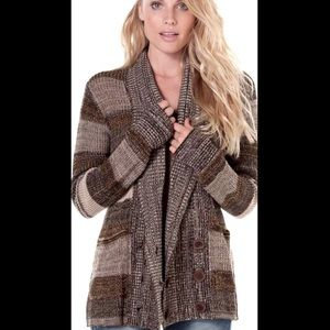 O'Neill Chalet Brown Striped Cardigan/Sweater/XL